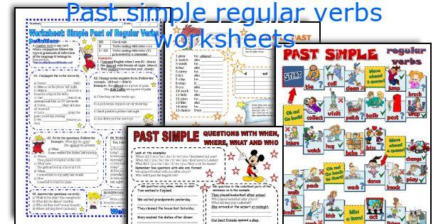 Past simple regular verbs worksheets
