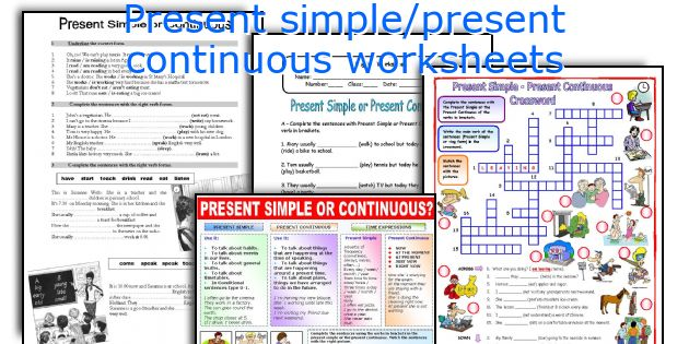 Present simple/present continuous worksheets