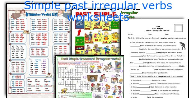 Simple Past Irregular Verbs Worksheets