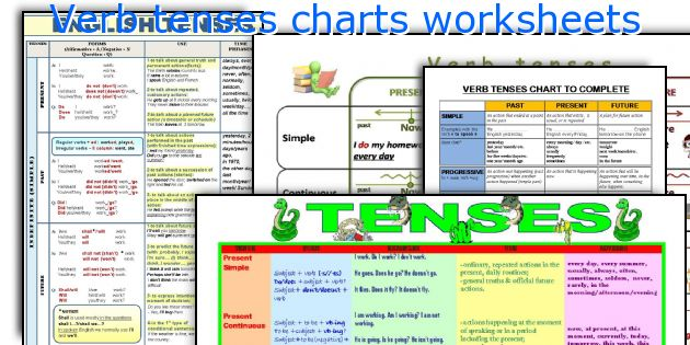 Verb Tenses Charts Worksheets