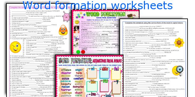 Word formation worksheets
