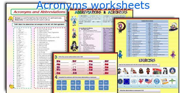 English teaching worksheets: Acronyms