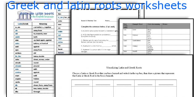 English teaching worksheets: Greek and latin roots
