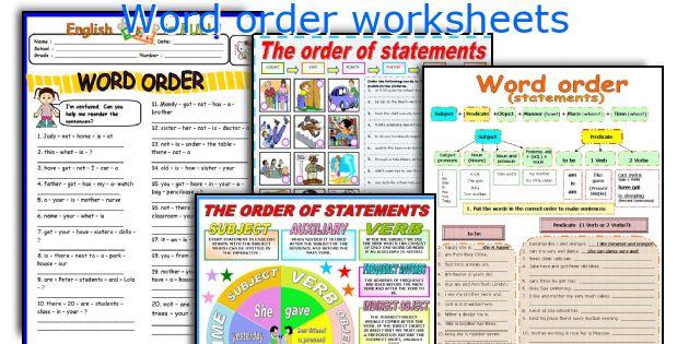 Word order worksheets