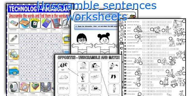 Unscramble sentences worksheets