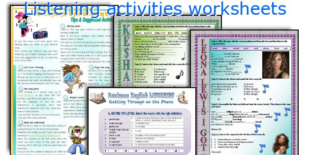 Listening activities worksheets
