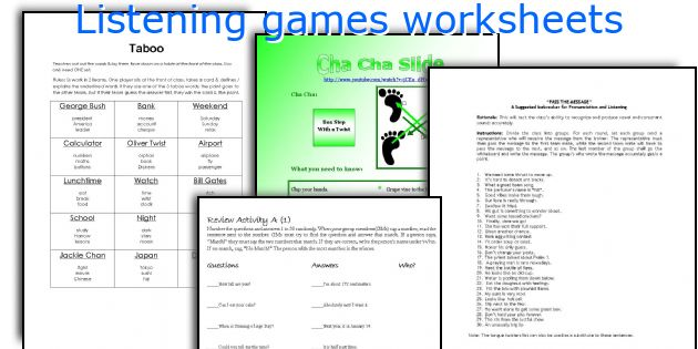Listening games worksheets