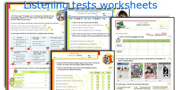 Listening tests worksheets