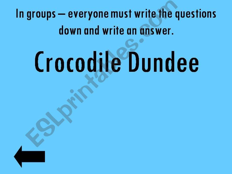 Crocodile dundee quiz game Australia