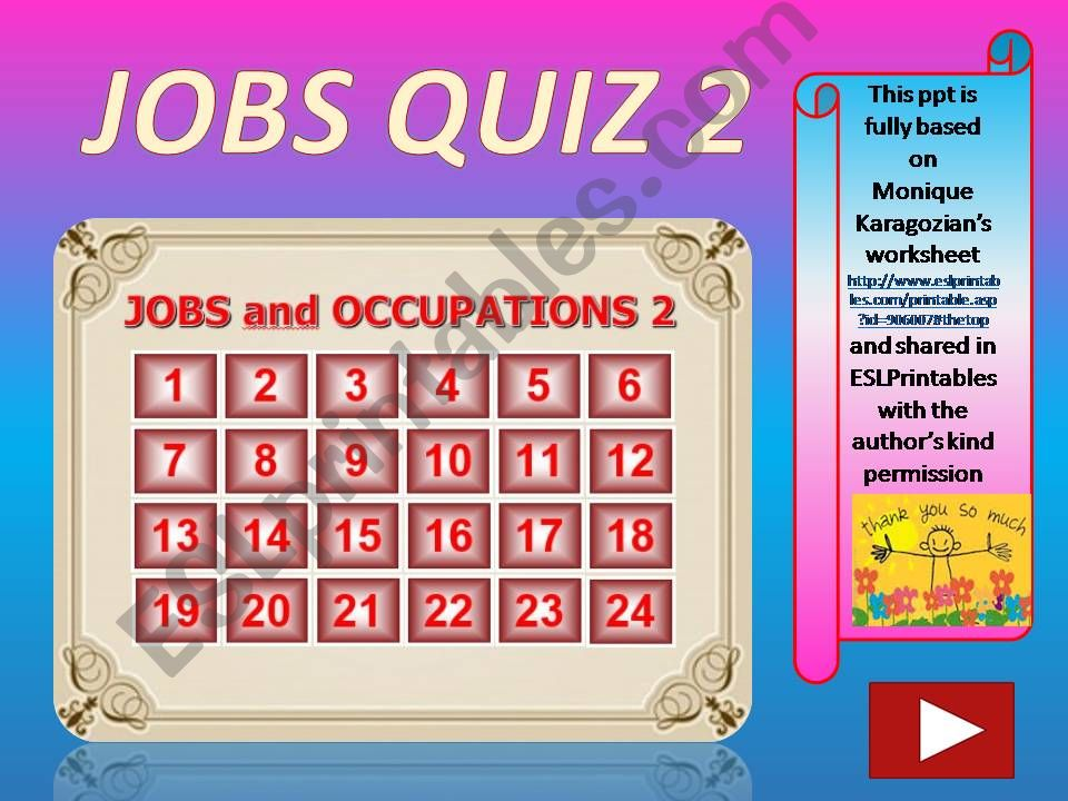 Jobs and Occupations QUIZ 2 (out of 4)