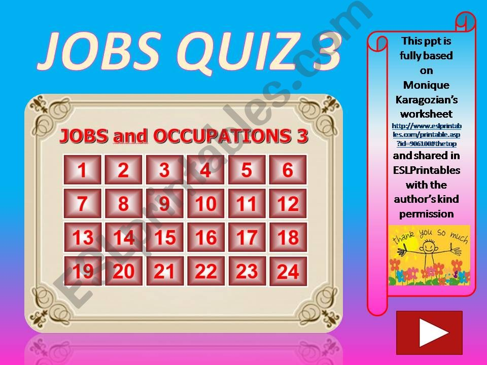 Jobs and Occupations QUIZ 3 (out of 4)