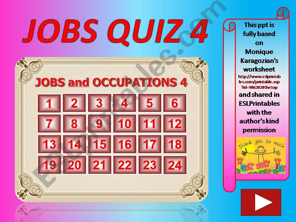 Jobs and Occupations QUIZ 4 (out of 4)