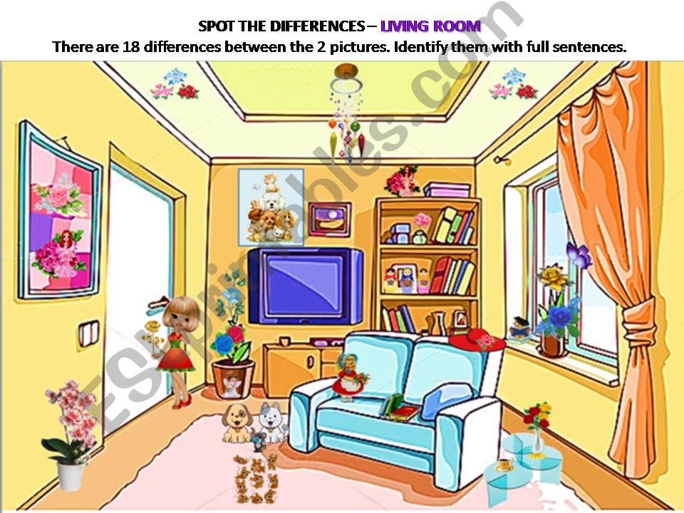 Spot the differences - 11 - Living room with 18 differences.