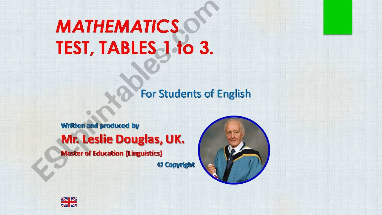 Times Tables, TEST TABLES 1 to 3