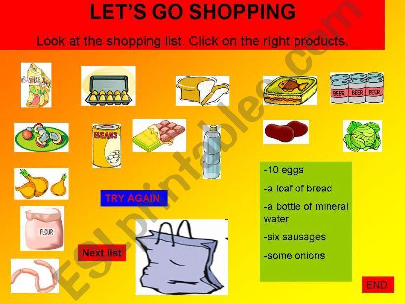 Shopping list - Let´s go shopping