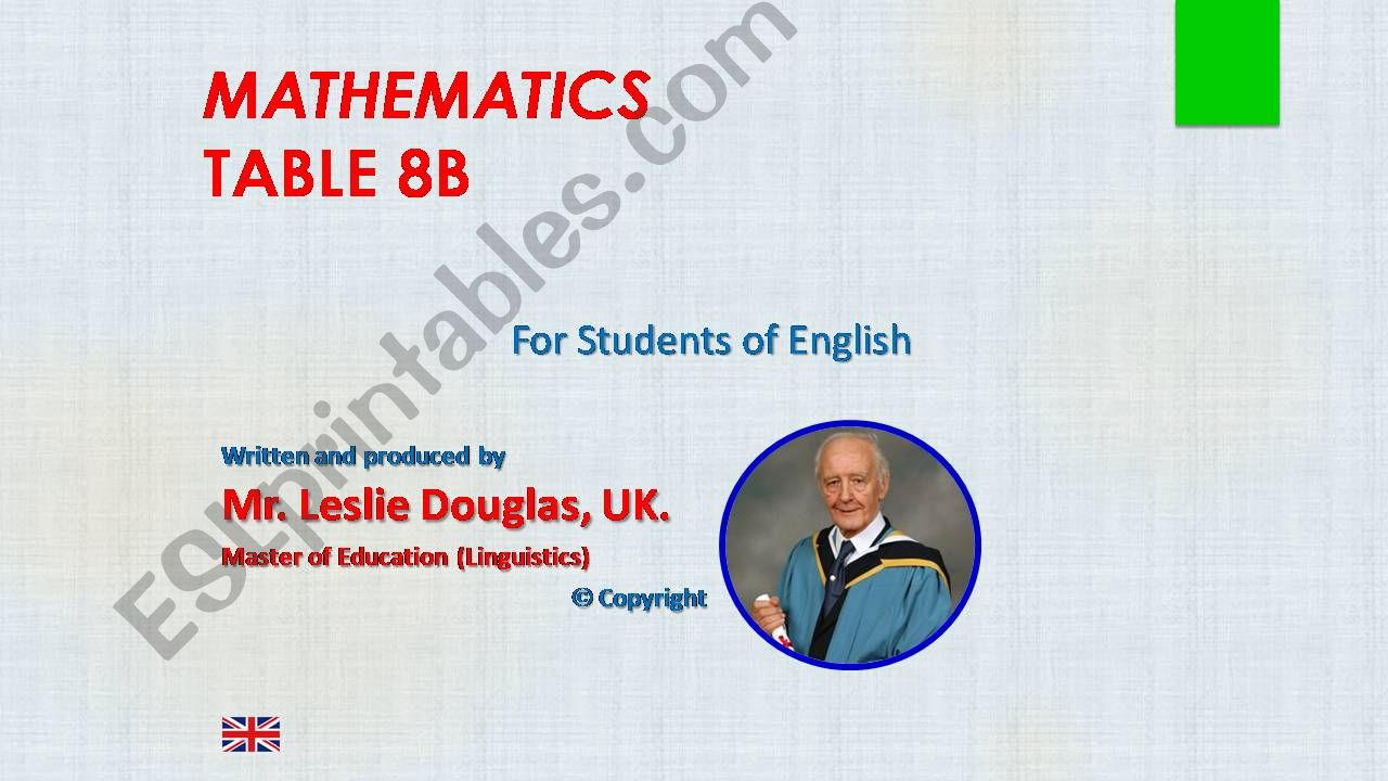 Times Table, 8B powerpoint