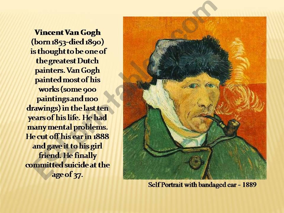 ESL - English PowerPoints: #1 of 4 VanGogh and song