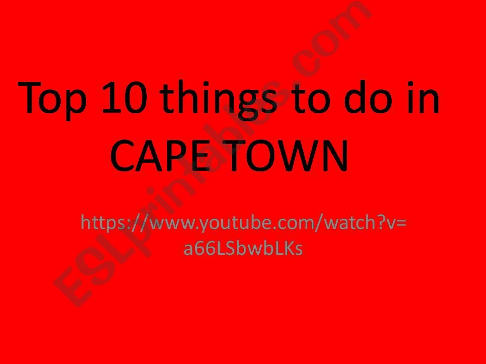 What will you do in Cape Town? Listening activity