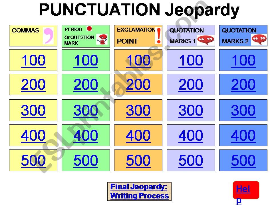 ESL English PowerPoints Punctuation Jeopardy Game