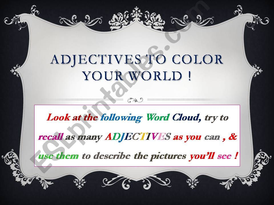 ADJECTIVES To Color Your World !