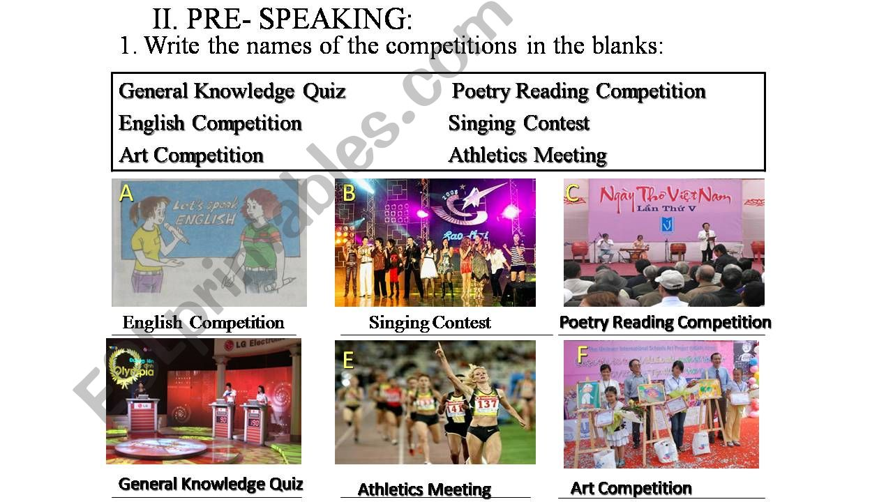 Competitions powerpoint