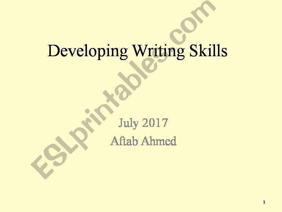 writing development skills powerpoint