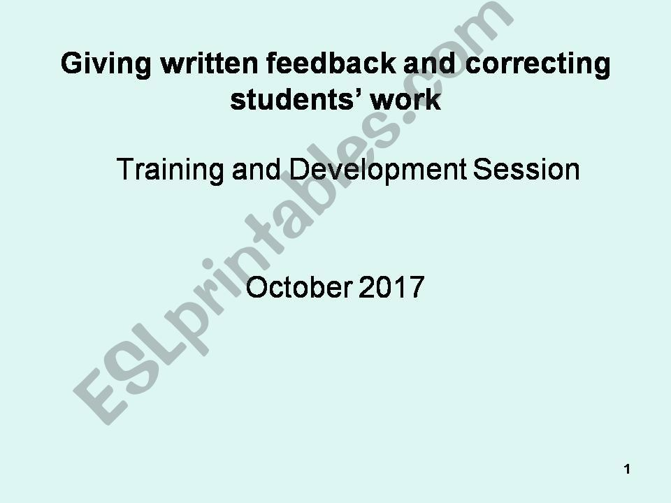giving written feedback powerpoint