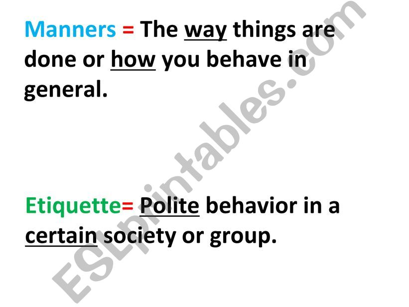 Manners and Etiquette powerpoint