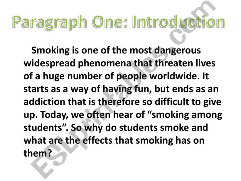 ESL - English PowerPoints: smoking: causes and effects essay