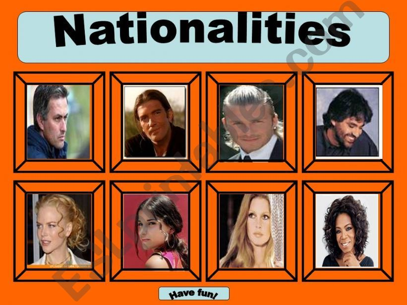 Nationalities game -Part 1 powerpoint