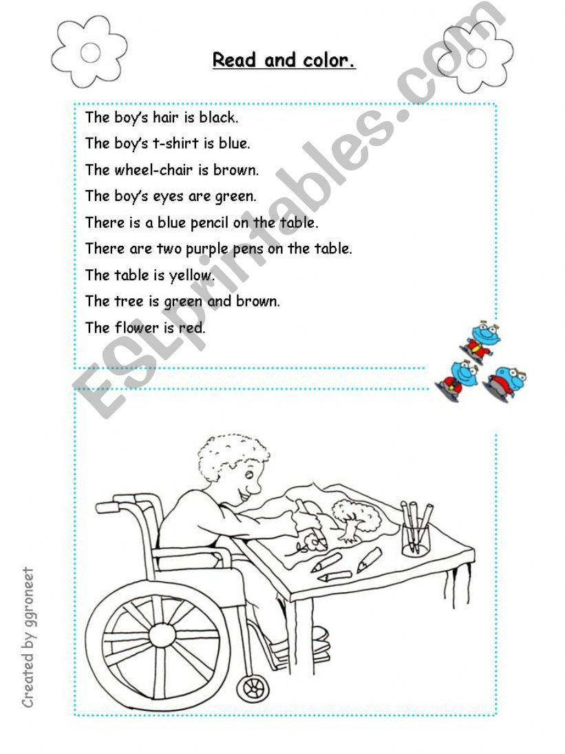 Reading Comprehension - Read and Color