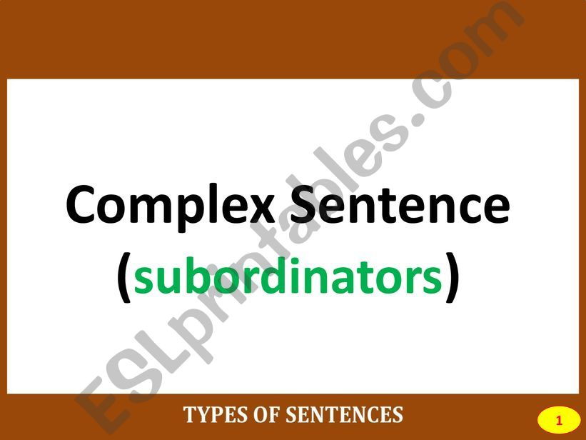 PART III: COMPLEX SENTENCE powerpoint