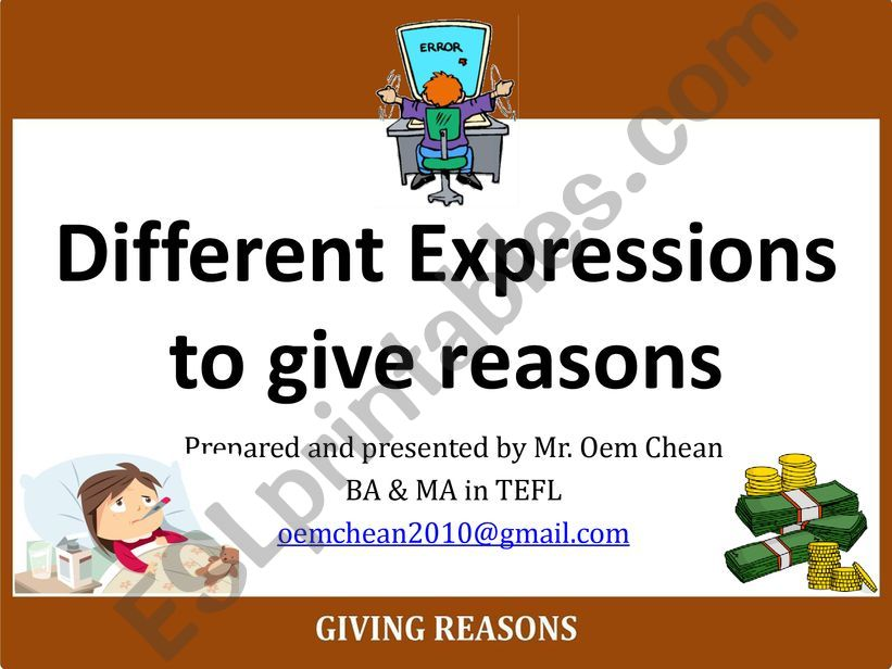 Part I: Expressions of Reasons (because of, owing to, due to, thanks to)