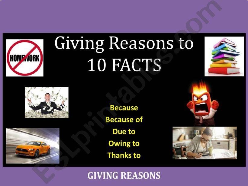 Part II: Practice giving reasons (Pair-Work)