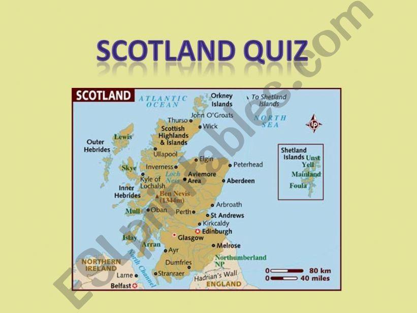Animated quiz on Scotland powerpoint