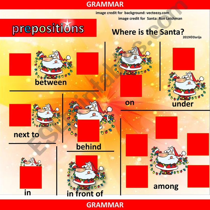 Prepositions of Place with Santa Claus