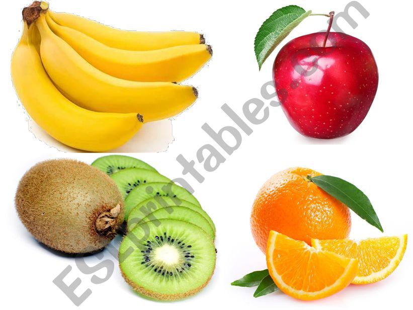 fruits, apple, banana, kiwi, orange