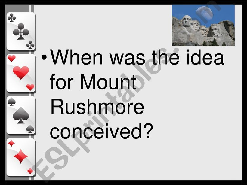 0.0DE - Mount Rushmore WEBQUEST I - RECAP II - Card Game