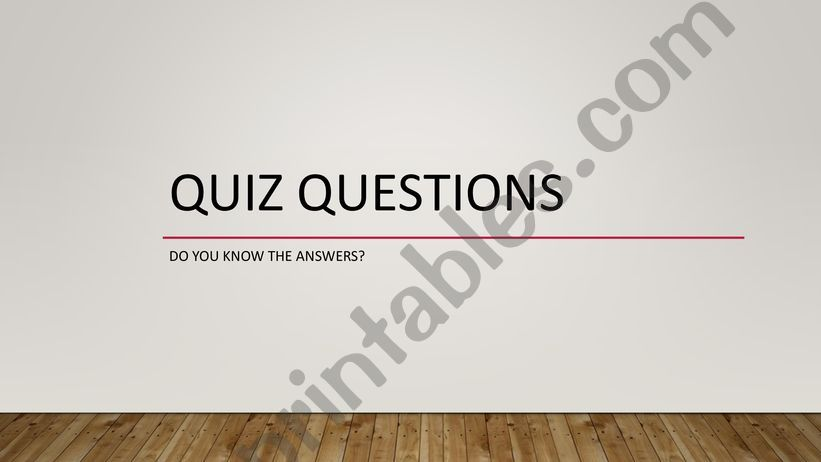 Quiz questions powerpoint