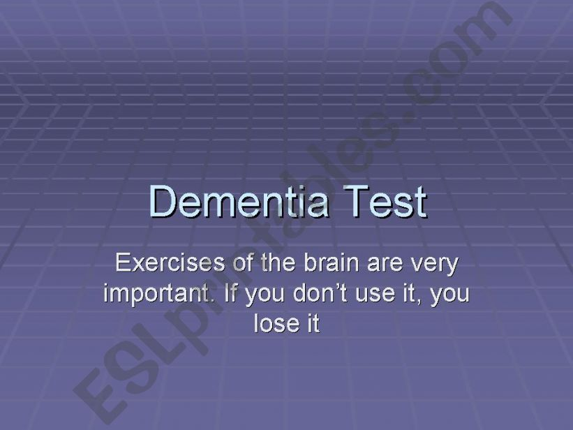 Dementia Test powerpoint