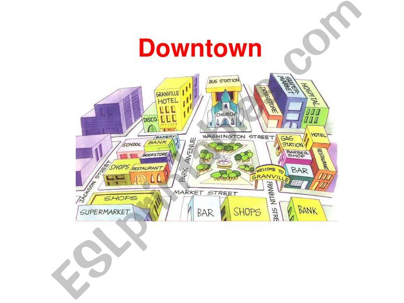 Prepositions of place in the city