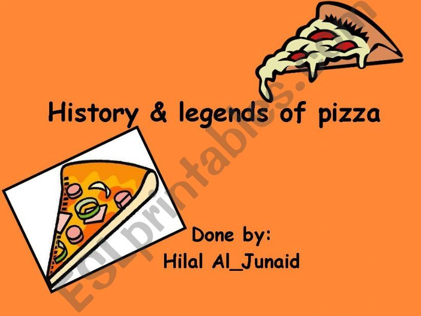 History and Legends of PizzA powerpoint