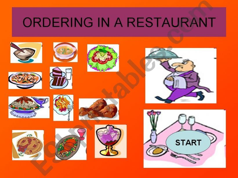 GAME: ORDERING IN A RESTAURANT-Help the waiter