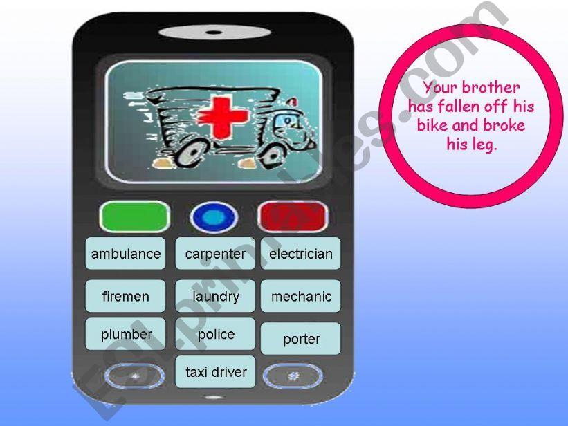 Emergency Phone Game powerpoint