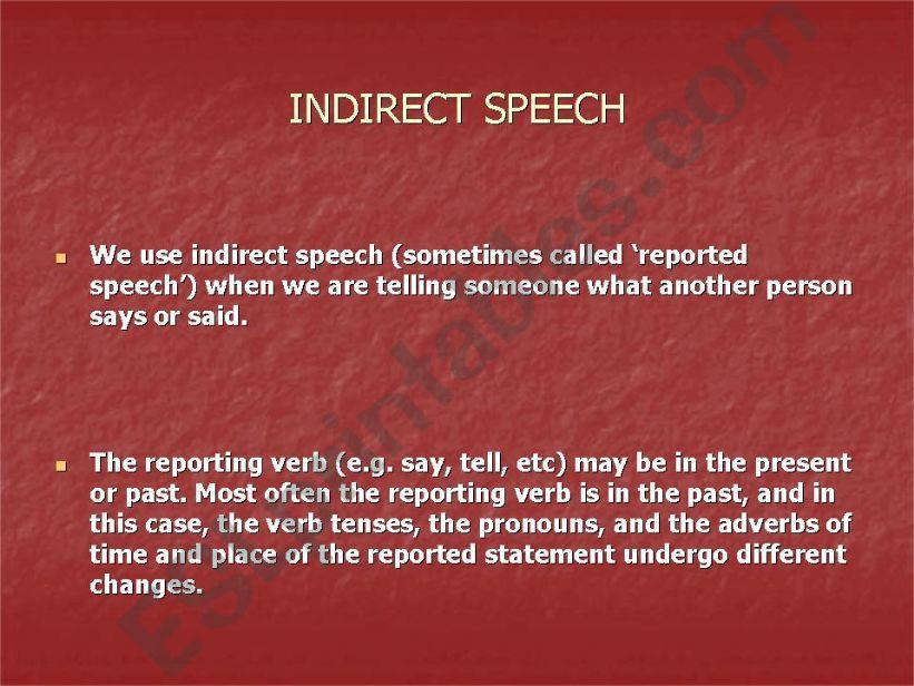 Indirect Speech powerpoint