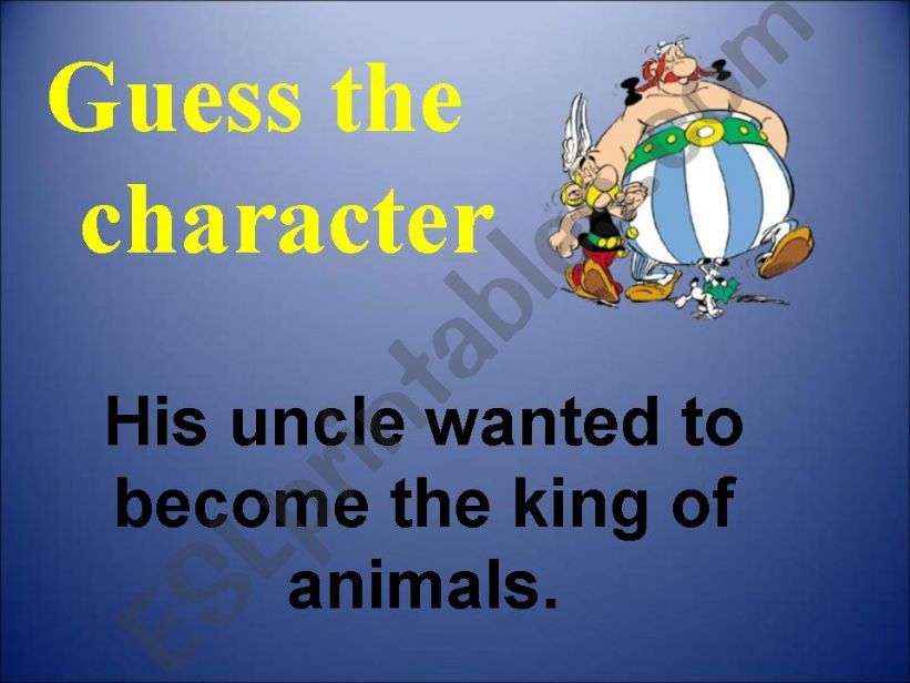Guess the character powerpoint