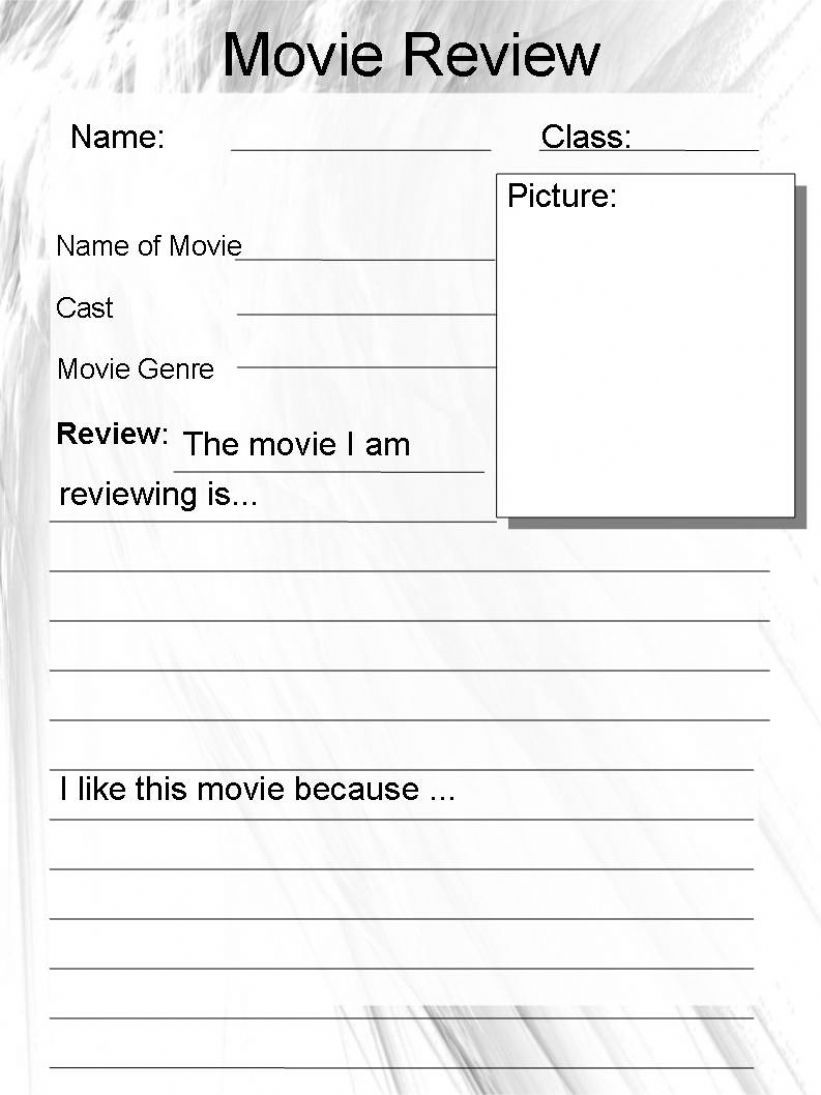 ESL - English PowerPoints: Movie Review Worksheet