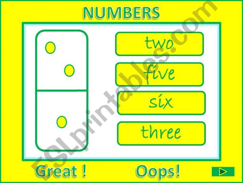 Numbers from 1 to 10 GAME powerpoint