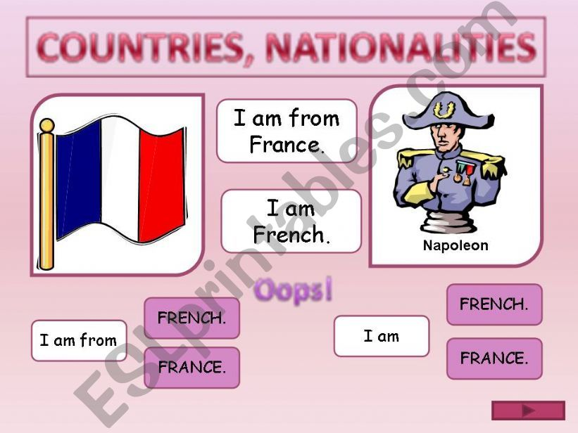 Countries and nationalities GAME
