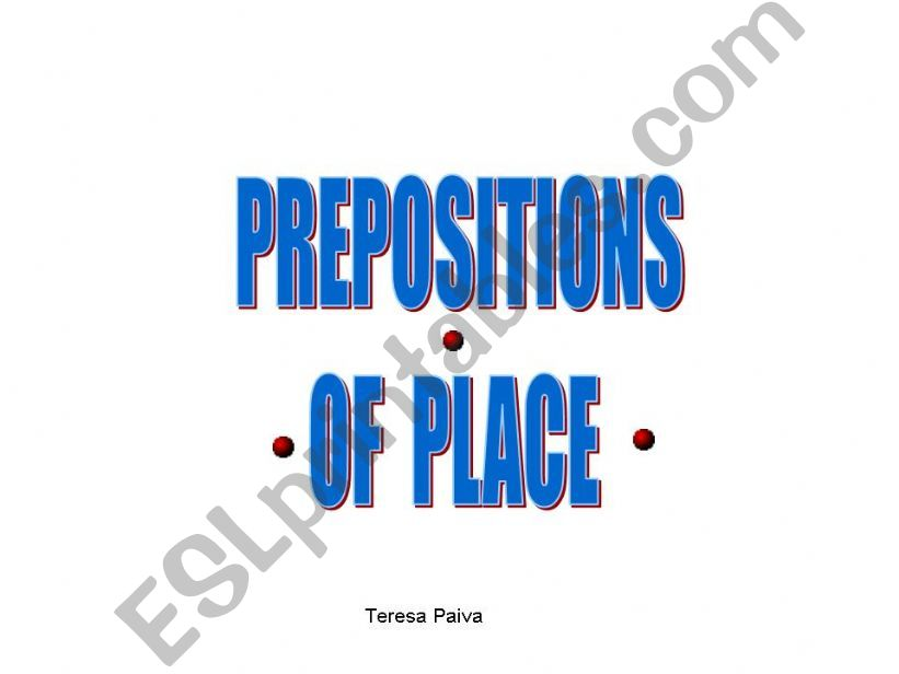 prepositions of place powerpoint